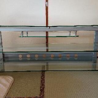【終了】ガラス製テレビ台(AV機器収納棚付き)
