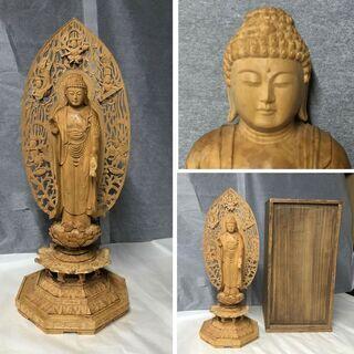 e314 木彫 仏像 観音様 木箱入り 仏教美術