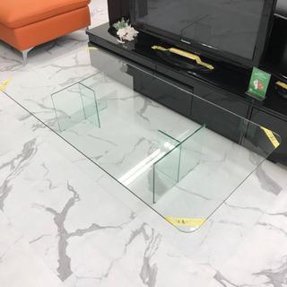 デザイナーズ✨全部ガラスのガラステーブル 155×77cm