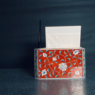 【ネット決済・配送可】美しきお品物◆ペンタ立て 花柄 陶器 アン...