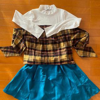 グレイル(GRL) チェック長袖服・エメラルドグリーンのスカート...