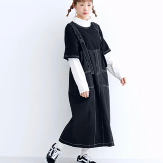 【ネット決済】merot ステッチ サロペットスカート
