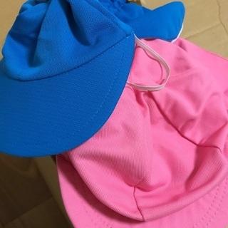 水色、ピンク 日除けつき帽子 幼稚園保育園