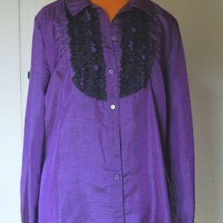 アトリエたき 紫に黒レース 光沢のある長袖ブラウス