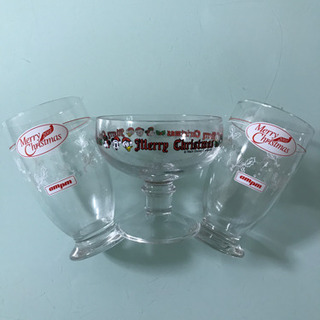 クリスマス グラス&デザート皿 3点セットの画像