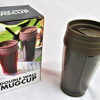 蓋付きダブルウォールマグカップ(茶色)450ml