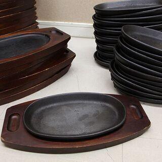 ステーキ皿 鉄板 24枚セット 鉄板皿 プレート木製台付(J75...