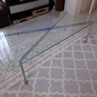 ガラスローテーブル Francfranc 120×50 脚シルバー