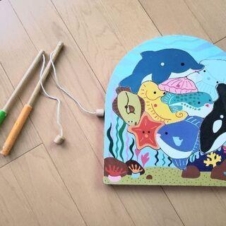 木製2層パズル 釣りのおもちゃ