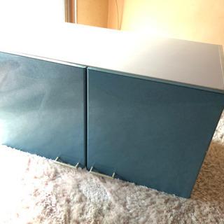 値下げ 吊り戸棚 キッチン ブルー 鏡面 上置き 収納 リビングの画像