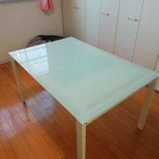 お話中→展示品 長さ調節可能 ガラステーブル