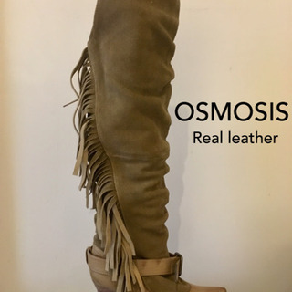 Osmosis 本革スウェードフリンジロングブーツ キャメル