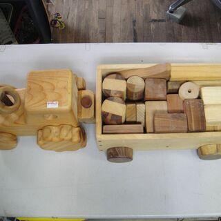 木製 車 積木 知育 玩具 台車の画像