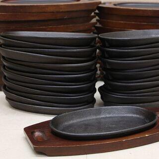 ステーキ皿 鉄板 24枚セット 鉄板皿 プレート木製台付 予備プ...