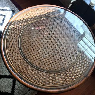 籐のガラステーブル 座卓