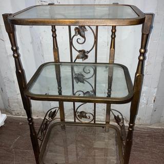 1124-209 アンティーク風 ガラス棚 飾り棚 3段