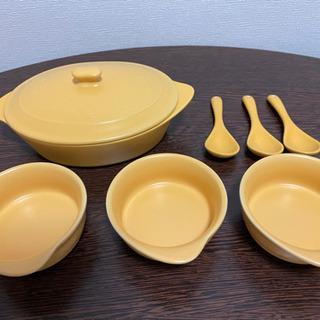 差し上げます【未使用品】陶器の小鍋、取り皿×3、スプーン×3セット - 大阪市