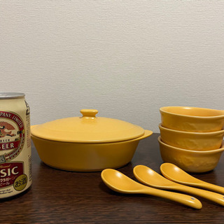 差し上げます【未使用品】陶器の小鍋、取り皿×3、スプーン×3セット - 生活雑貨