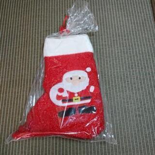 サンタがついた大きなブーツ型お菓子入れ  高さ40cm