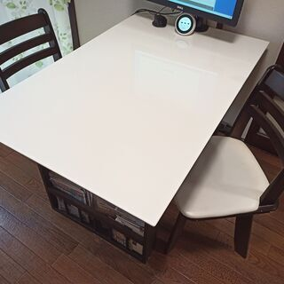 伸長式ダイニングテーブル 回転式椅子2脚セット ホワイト/ダーク...
