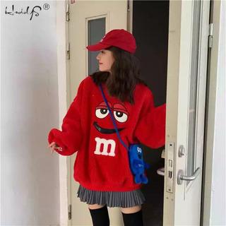 m&m's モコモコ パーカー 韓国 赤 L
