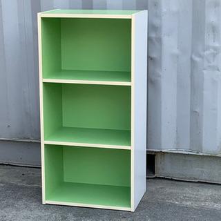 格安で!カラーボックス 3段◇木製◇ホワイト&グリーン