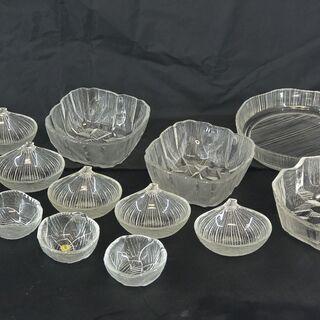 ガラス製 食器 いろいろ / HOYA リーフ柄 小鉢 / 石目...