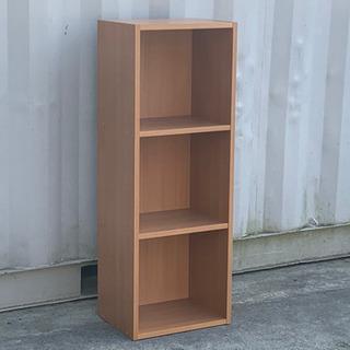 格安で!カラーボックス 3段 高さ108㎝◇木製◇ブラウン ナチ...