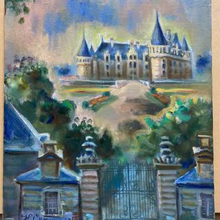 大河原元 油彩画 真作 「アゼ・ル・リドの城」 8号