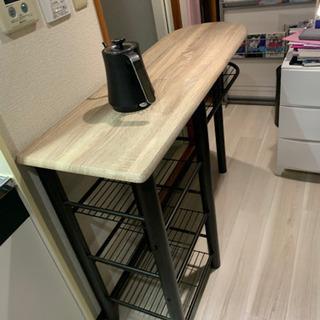 【オーク色木目調】ハイテーブル&ハイチェアの画像