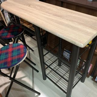 【オーク色木目調】ハイテーブル&ハイチェア - 家具