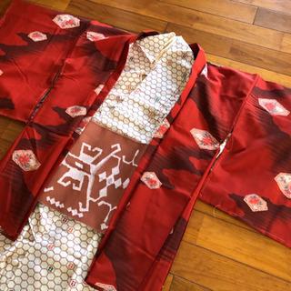 着物3点セット 小紋 袋帯 羽織り 赤白系