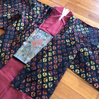 着物3点セット 小紋 袋帯 羽織り えんじ黒系