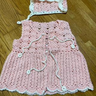 手編みベスト&帽子セット