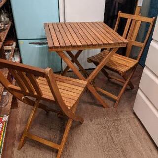 ガーデンテーブル ガーデンチェア セット 3点セット 折りたたみ 木製