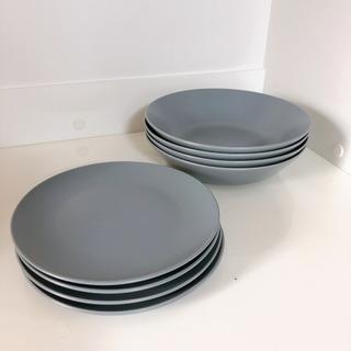 商談中★IKEAのブルーグレーのお皿、食器18枚セット