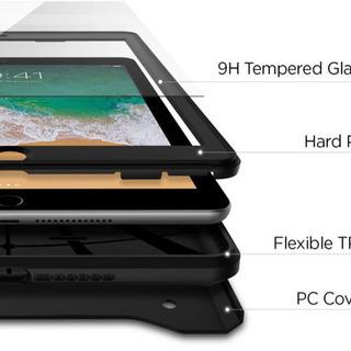 iPad 9.7 ケース カバー 2018/2017モデル対応 ガラスフィルム 1枚入り 360度 全面保護 ケース 耐衝撃 衝撃吸収 - パソコン