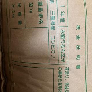 〜お譲り先決定〜未開封令和元年コシヒカリ玄米30kg1袋