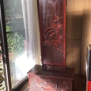 アンティーク 鎌倉彫、3面鏡 美品です!