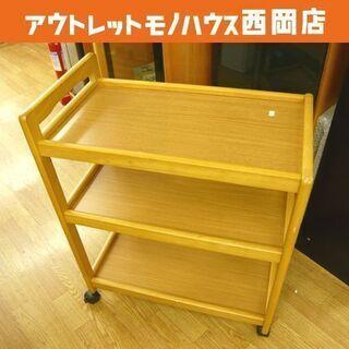 キャスター付き キッチンワゴン 木製 ブラウン 2段 キッチンラ...