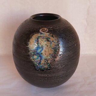 信楽焼 明山作 花瓶 壺 謎の落書きあり