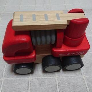 〖交渉中〗プラントイ(PLAN TOYS)ミニ消防車 木のおもちゃ
