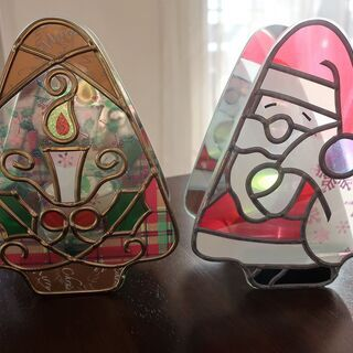 Xmas ガラスアートのキャンドル立て 2個セット