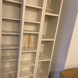 【ネット決済】スライド本棚(ホワイト) 幅:80cm、奥行き:3...