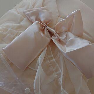 新品未使用 サテンリボンとボイルレースのバルーンカーテン …