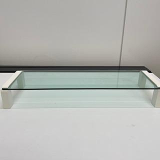 【美品】デスクガラスボード(モニター台)白②
