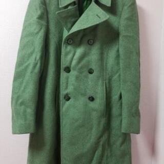 【ネット決済・配送可】緑色ビンテージウールコート