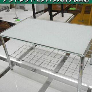 ガラステーブル 幅73×奥行43×高さ39㎝ 天板ガラス センタ...