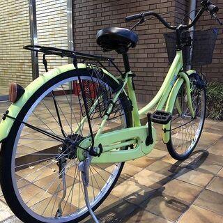 【中古】 軽快車 26インチ 蛍光イエロー - 自転車