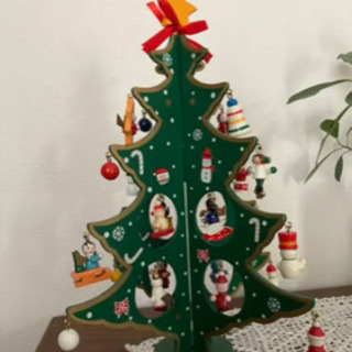 【ネット決済】卓上、木製クリスマスツリー。飾りも楽しめる